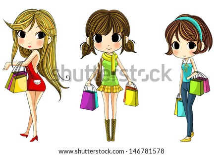 b41f0f14be1f Cute Cartoon Girl Shopping