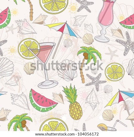 Cute summer abstract pattern. Seamless pattern with coctails, sunglasses, fruits, palms,  and seashells . - stock vector