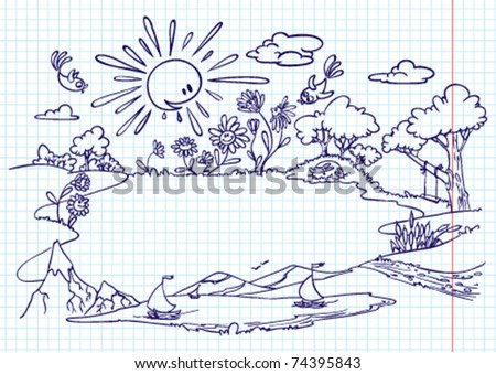 Cute summer frame (doodle version) - stock vector