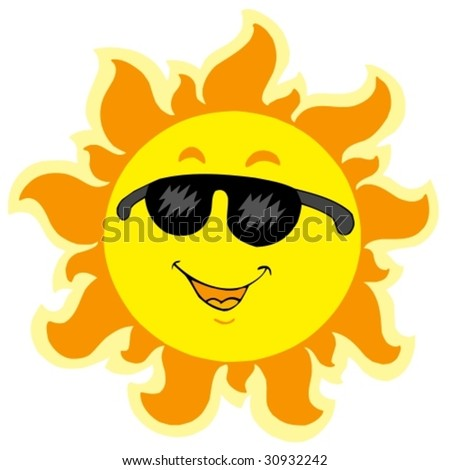 Cute summer Sun with sunglasses - vector illustration.
