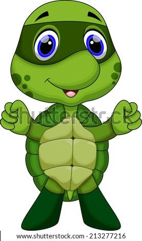 Cute super turtle cartoon  - stock vector