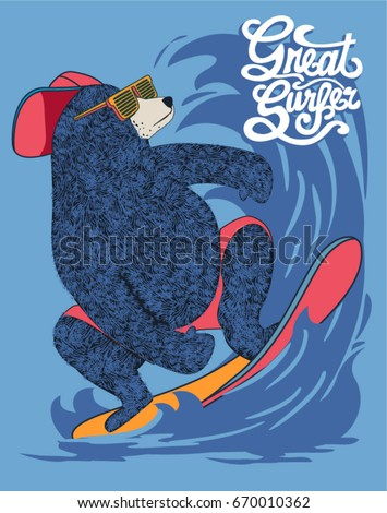 cute surfer bear vector design