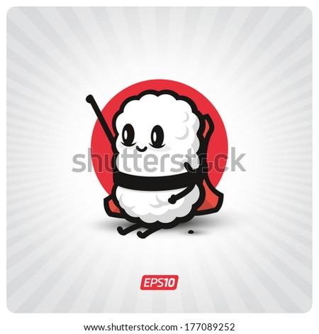 Cute sushi character - stock vector