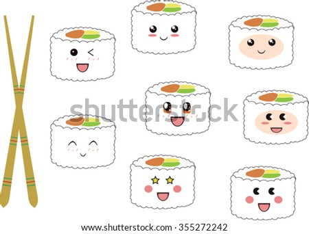 how to draw cute sushi with chopsticks