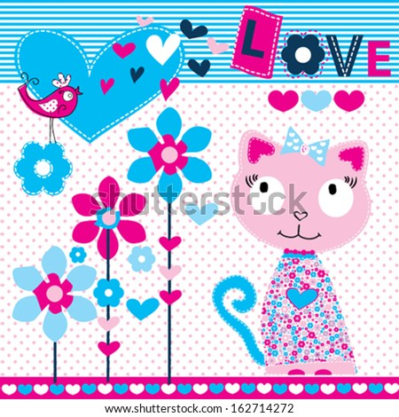 cute sweet cat vector illustration - stock vector