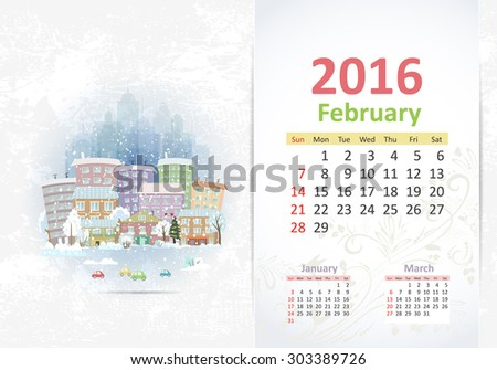Cute sweet cityscape. calendar for 2016, February - stock vector