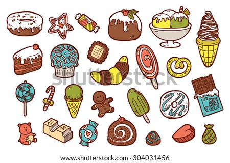 cute sweets icons. vector doodle collection of hand drawn sweets icons