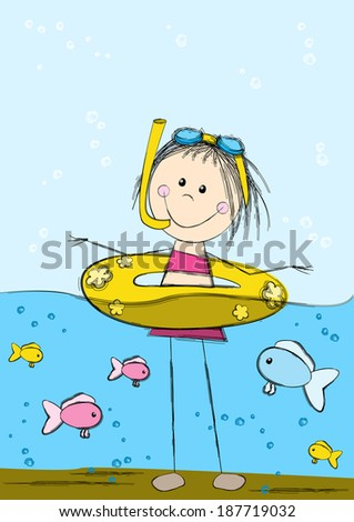 Cute swimming girl on sea background