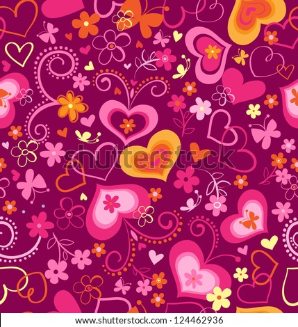 cute swirly hearts seamless background - stock vector