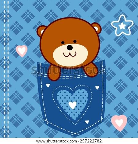 cute teddy bear - stock vector