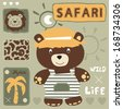 cute teddy bear and safari wild life vector illustration - stock vector