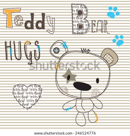 cute teddy bear embroidery on tshirt vector illustration - stock vector
