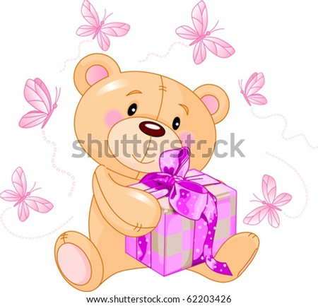 Cute Teddy Bear sitting with pink gift box - stock vector