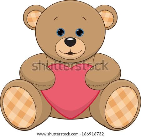 cute teddy bear with a heart - stock vector