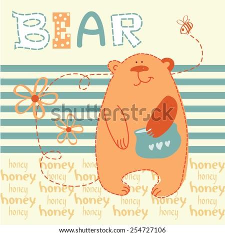 cute Teddy bear with a pot of honey, I love honey, vector illustration - stock vector