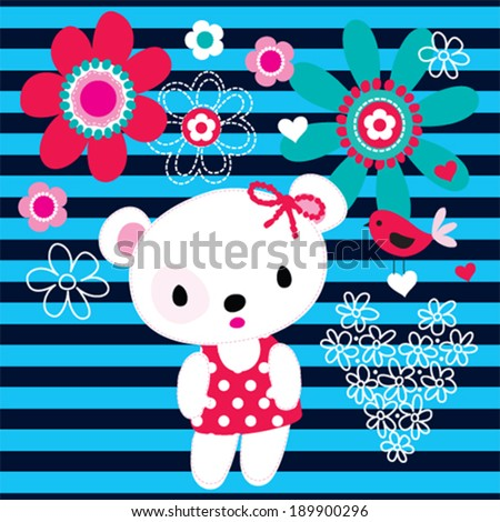 cute teddy bear with bird striped background vector illustration - stock vector