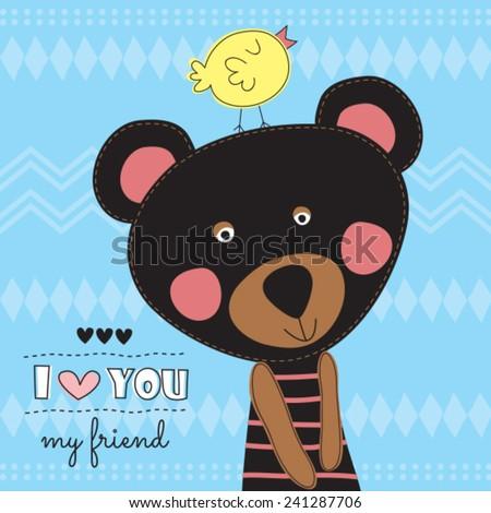 cute teddy bear with chicken vector illustration - stock vector