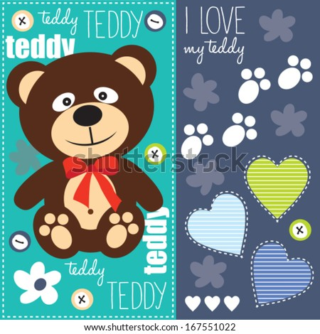cute teddy bear with red bow vector illustration - stock vector