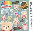 cute teddy bears and speech bubbles templates - stock vector