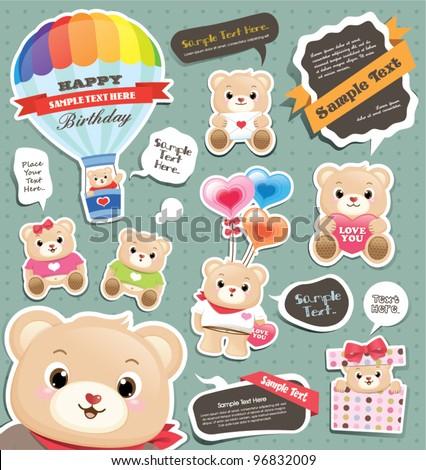 cute teddy bears and speech bubbles templates - stock vector