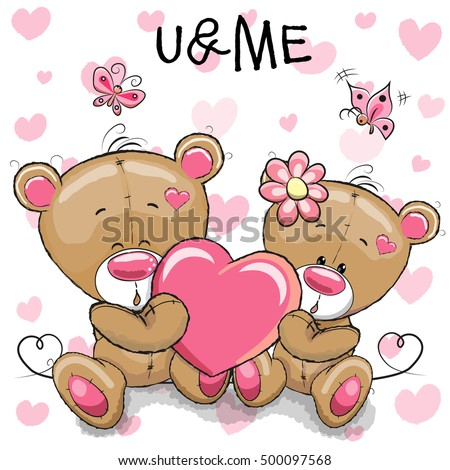 Cute teddy bears heart on heart stock vector 500097568 shutterstock cute teddy bears with heart on a heart background voltagebd Image collections