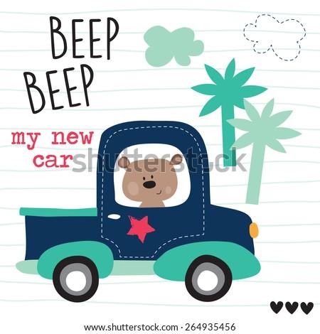 cute teddy in the car vector illustration - stock vector