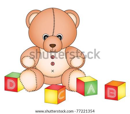 Cute teddy with alphabet toy cubes - stock vector