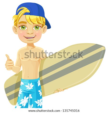Cute teen boy with a surfboard isolated on a white background - stock vector