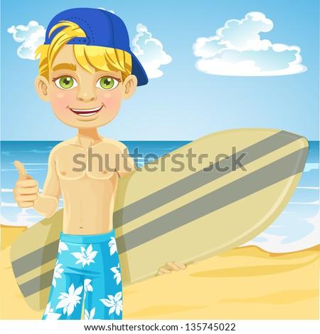 Cute teen boy with a surfboard on a sunny beach - stock vector