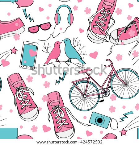 Cute teenager girls pattern with sneakers, birds couple, bike, camera, mobile telephone, headphones, hearts, and flowers. Pink and blue palette. Teenage girl world background - stock vector