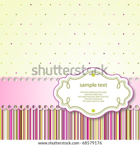 Cute template frame design for greeting card, raster version also available in my portfolio - stock vector