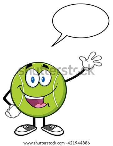 Cute Tennis Ball Cartoon Character Waving With Speech Bubble. Vector Illustration Isolated On White - stock vector