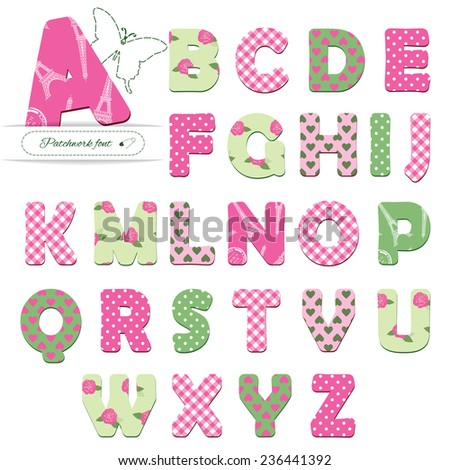 Cute textile font for girls. Different patterns included under clipping mask. - stock vector