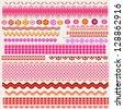 cute textured borders for scrapbook - stock vector