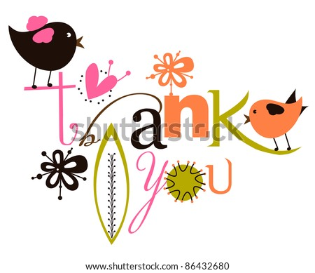Cute Thank You Script Card - stock vector