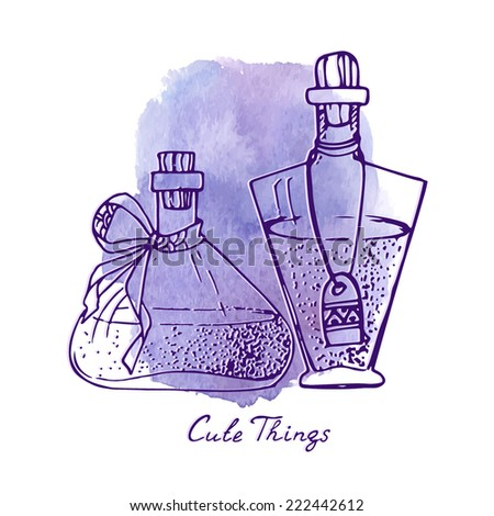 Cute things illustration. Set of different vials and bottles with ribbons and labels, light and dark contour on watercolor background. - stock vector