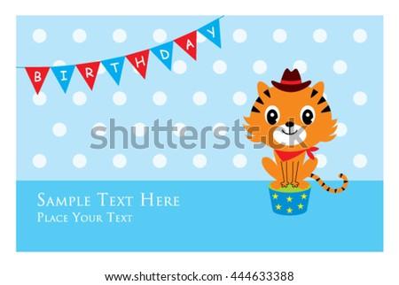 Cute Tiger Birthday Card Stock Photo Photo Vector Illustration