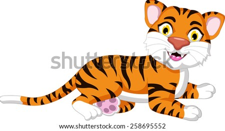 Cute tiger cartoon posing