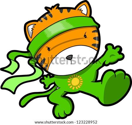 Cute Tiger Cub Ninja Vector - stock vector