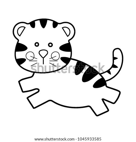 Cute Tiger Doll Toy Cartoon Line Art Style Vector Illustration Coloring Page For Kid