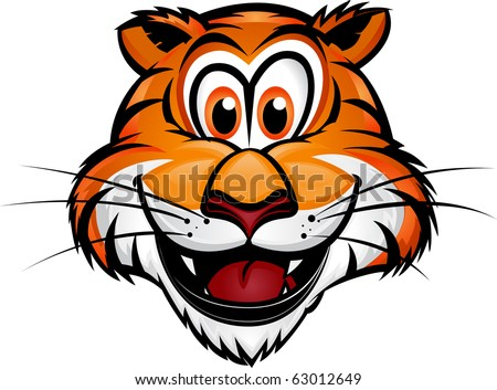 Cute Tiger Mascot Cute Tiger Head Mascot.Separated into layers for easy editing. - stock vector