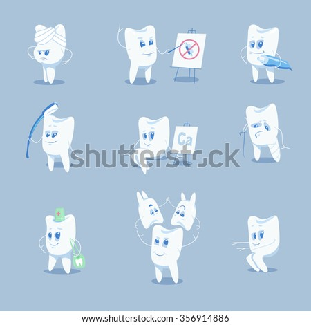 Cute tooth character set. Vector illustration. - stock vector