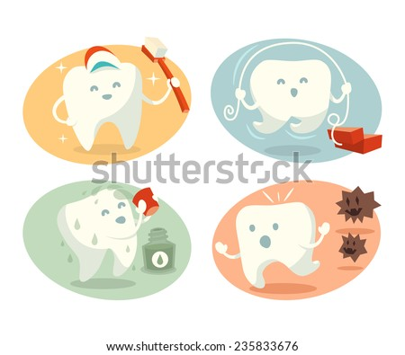 Cute tooth in different situations. Part 1. Vector illustration.