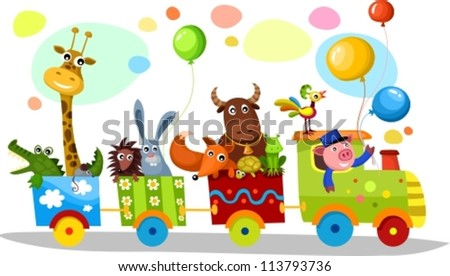 cute train - stock vector