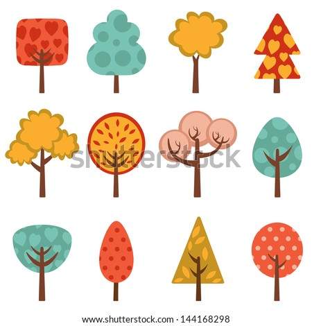 Cute trees collection. vector illustration