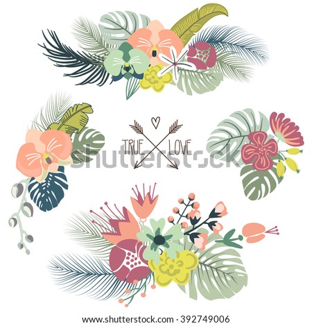 Cute tropical floral bouquets, retro flowers - stock vector