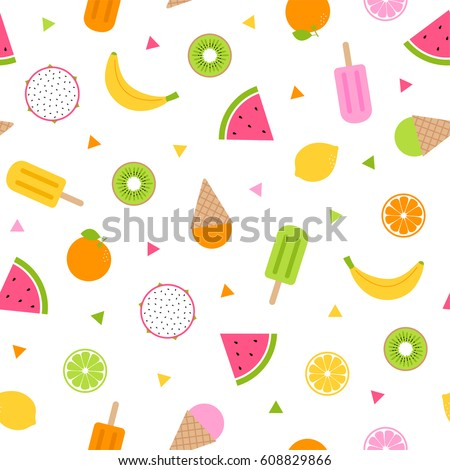 Cute tropical fruits and ice cream seamless pattern background