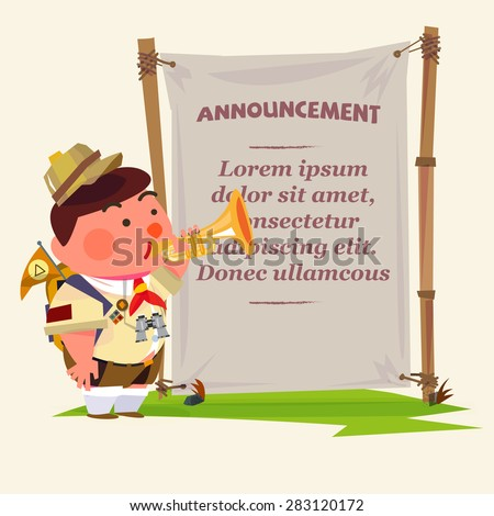 cute trumpeter. scout boy character blowing trumpet to announcing your text in blank fabric. jungle style. camp announcement - vector illustration .promotion marketing concept - vector illustration - stock vector