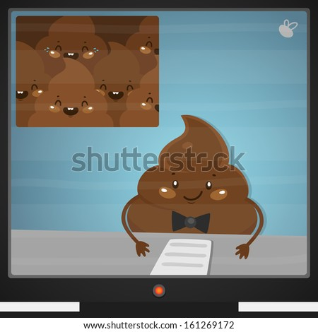 Cute turd and news - stock vector