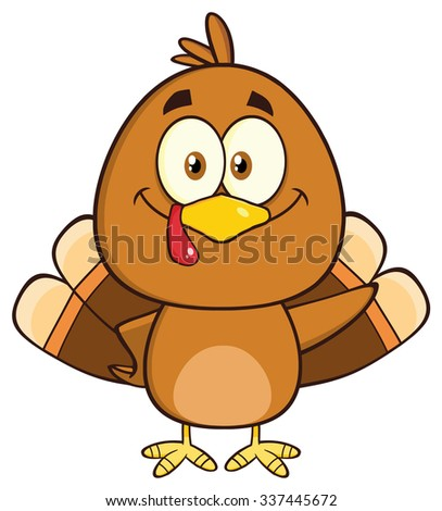 Cute Turkey Bird Cartoon Character Waving. Vector Illustration Isolated On White - stock vector